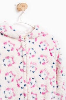 Pyjama sweatshirt in printed fur, Pink, hi-res