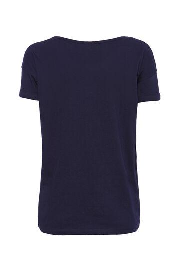 T-shirt cotone strass Smart Basic, Blu navy, hi-res