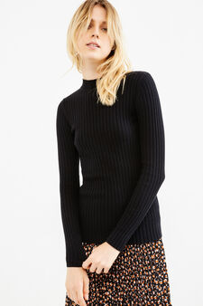 Ribbed pullover with high neck, Black, hi-res
