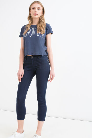 Cotton crop T-shirt with printed lettering, Blue, hi-res