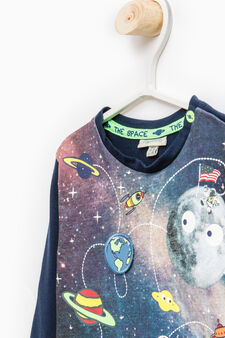 Cotton stretch T-shirt with space print and patches, Navy Blue, hi-res