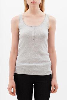 Vest with lace trim, Grey, hi-res