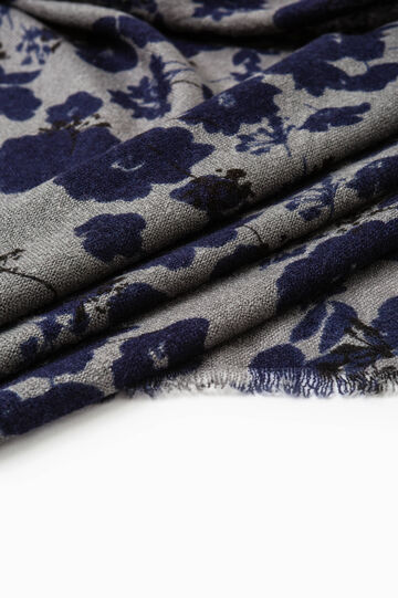 Floral printed scarf, Grey/Blue, hi-res