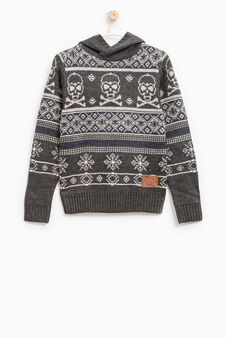 Knitted pullover with all-over print, Grey, hi-res