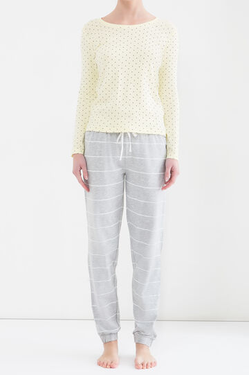 Printed pyjama top in 100% cotton, Yellow, hi-res