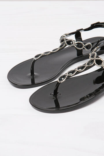 Thong sandals with strap and diamantés, Black, hi-res