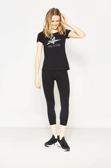 Stretch T-shirt with print and diamantés