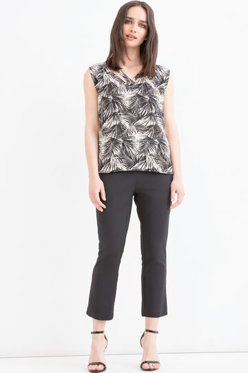 Patterned sleeveless blouse, Black, hi-res