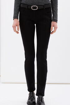 Stretch cotton blend trousers, Black, hi-res