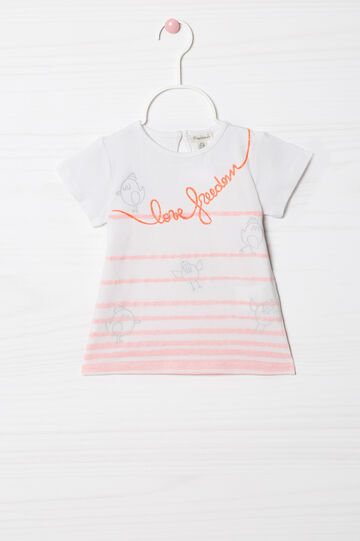 Printed and striped stretch T-shirt, White, hi-res