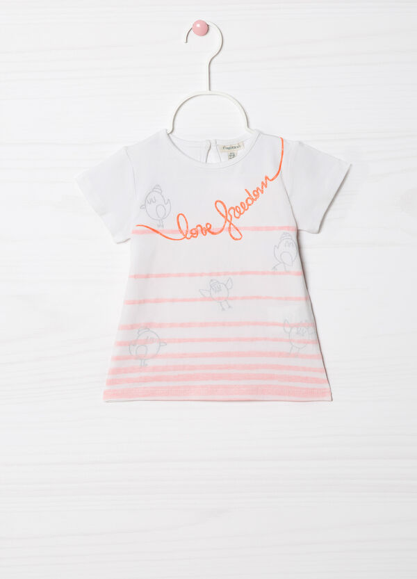 Printed and striped stretch T-shirt | OVS