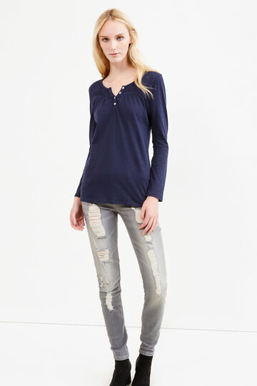 T-shirt with pleated motif, Blue, hi-res