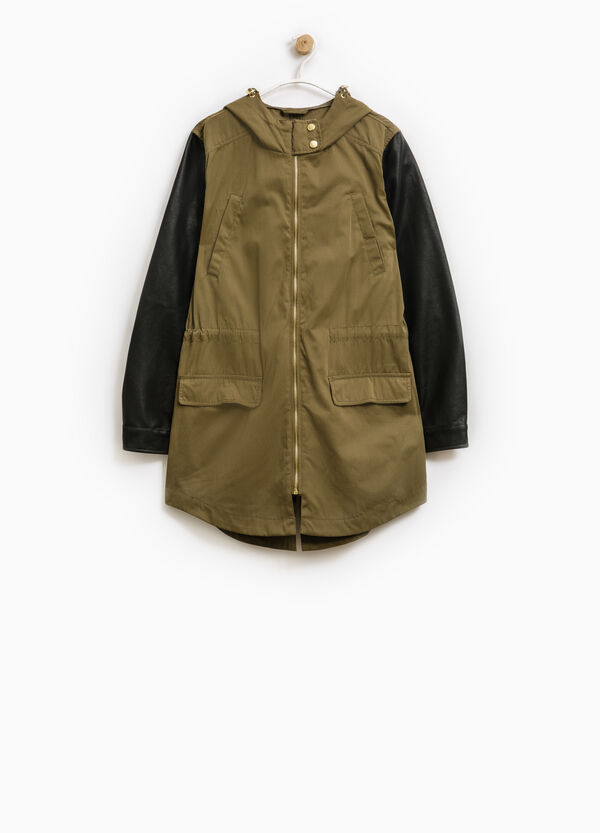 Cotton blend parka with elastic waist band | OVS
