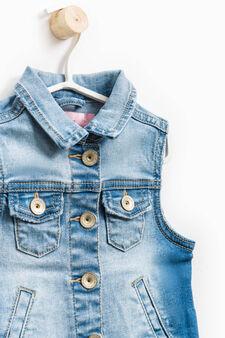 Gilet di jeans stretch con tasche, Denim, hi-res