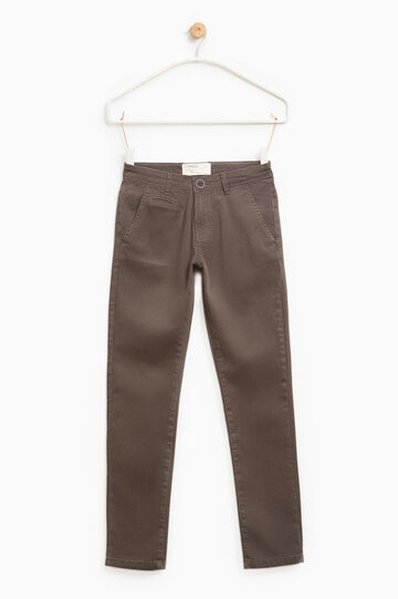 Printed stretch chino trousers, Brown, hi-res