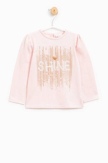 Camiseta con strass, purpurina y encaje, Rosa, hi-res