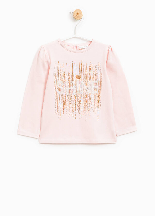 T-shirt with lace, diamantés and glitter | OVS