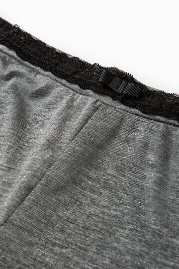 Viscose and lurex pyjama trousers, Grey, hi-res