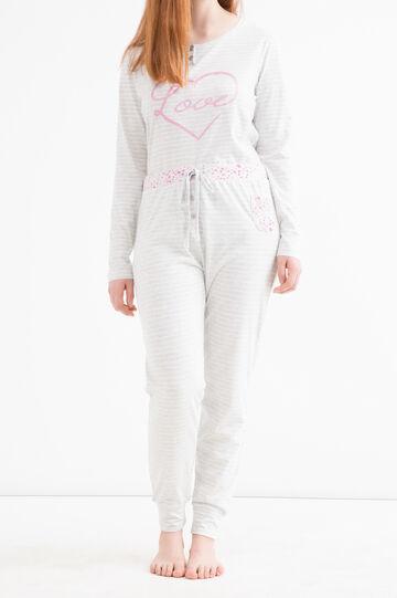Curvy striped pyjama trousers, White/Grey, hi-res
