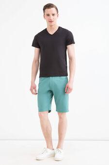 Solid colour 100% cotton Bermuda shorts, Emerald Green, hi-res