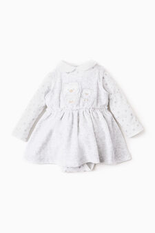 Completo body e vestitino, Bianco/Grigio, hi-res