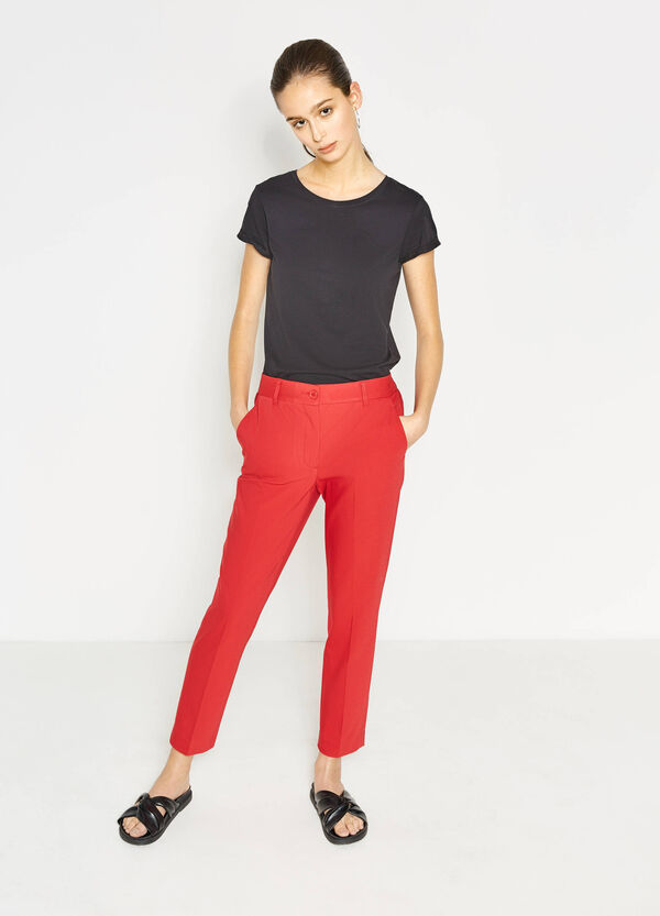 Pantaloni con piega in cotone stretch | OVS