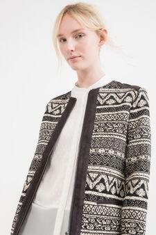 Cotton blend jacket with ethnic pattern, White/Black, hi-res