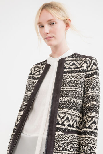 Cotton blend jacket with ethnic pattern, White/Black, hi-res