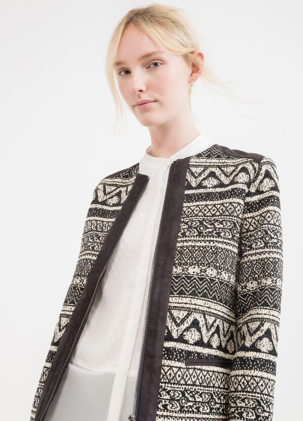Cotton blend jacket with ethnic pattern | OVS