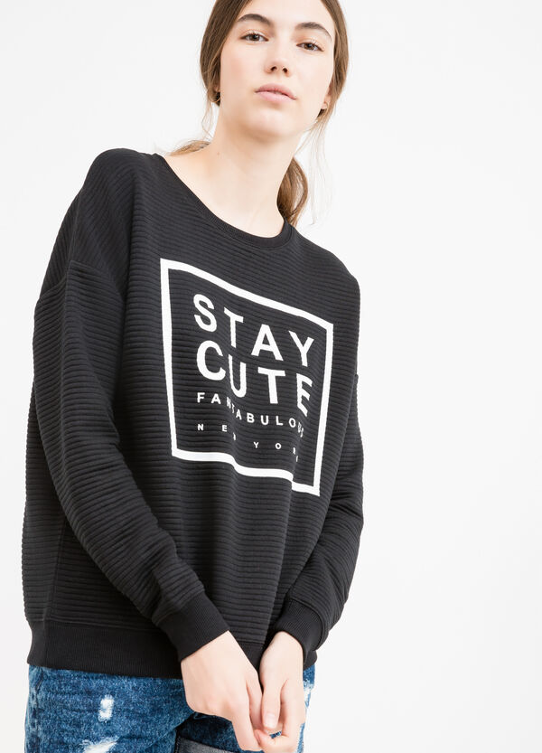 Striped viscose sweatshirt with printed lettering | OVS