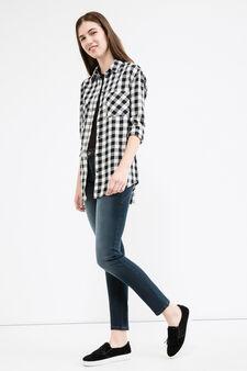 Jeans push up stretch effetto delavato, Blu scuro, hi-res