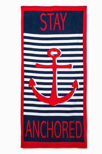 Striped beach towel with printed lettering
