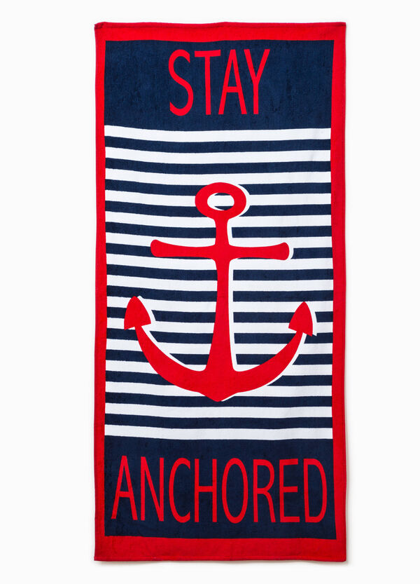 Striped beach towel with printed lettering | OVS