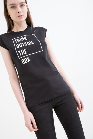 100% cotton T-shirt with printed lettering, Black, hi-res