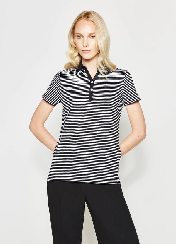 Striped polo shirt with V-neck | OVS