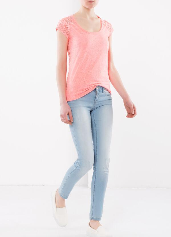 T-shirt with openwork fabric insert | OVS