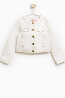 Jacket with chest pockets and diamantés, Milky White, hi-res