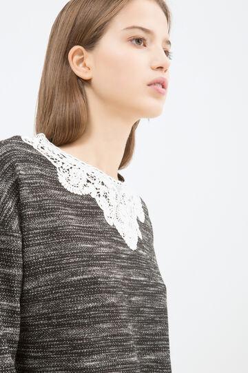 Cotton blend sweatshirt with insert, Black, hi-res