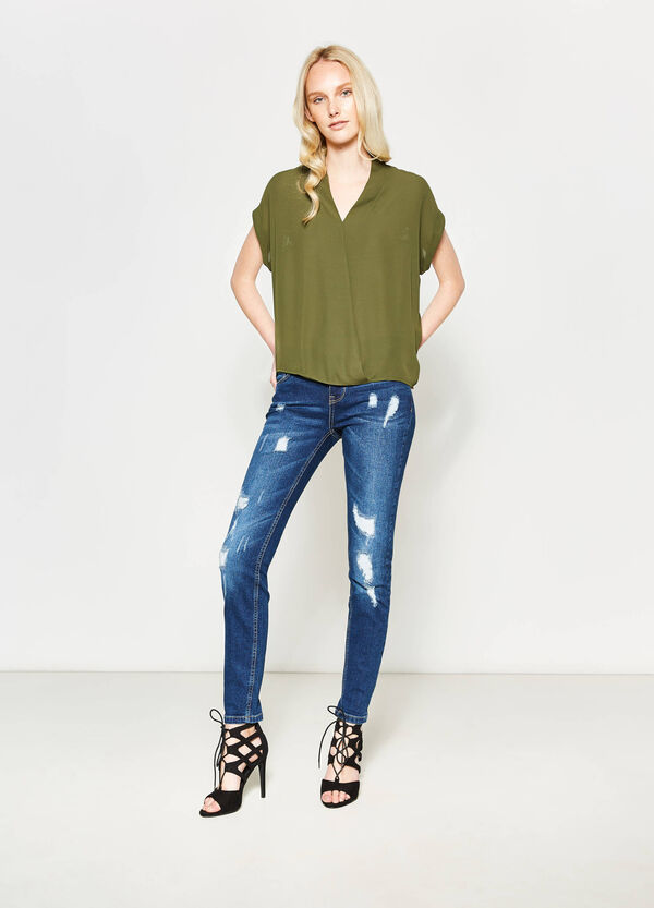 Blouse with lace and crossover baffle | OVS