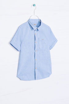 Cotton and linen shirt with pocket., Light Blue, hi-res