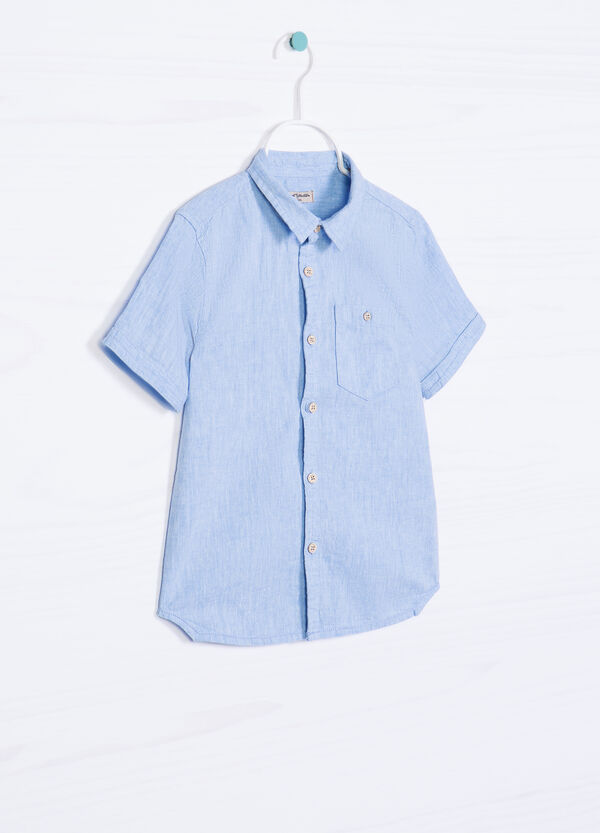 Cotton and linen shirt with pocket. | OVS