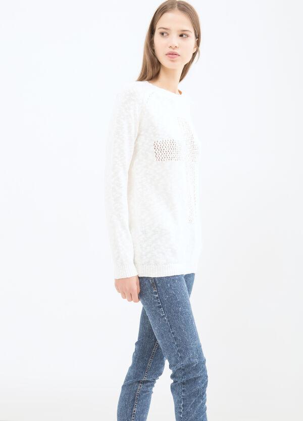 Cotton blend openwork pullover | OVS