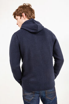 Knitted cardigan with hood and zip, Navy Blue, hi-res