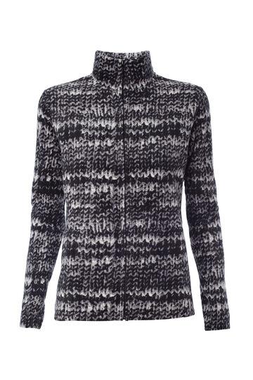 Smart Basic fleece sweatshirt with zip, Black/White, hi-res
