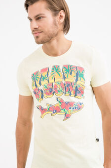 Cotton T-shirt with Maui and Sons lettering, Light Yellow, hi-res