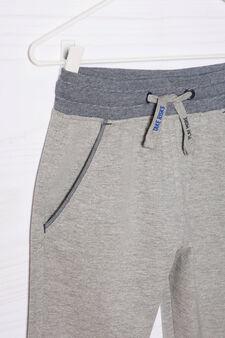 100% cotton joggers with drawstring, Grey Marl, hi-res