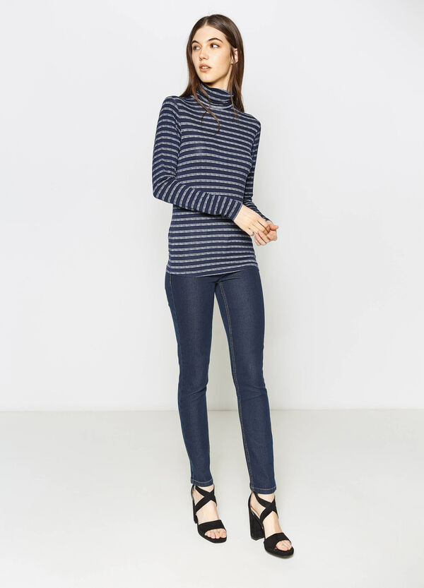 Striped stretch T-shirt with high neck | OVS