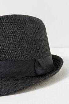 Cappello tinta unita con fascia a costina, Nero, hi-res