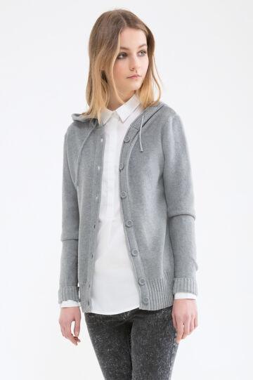 Solid colour 100% cotton cardigan., Grey, hi-res