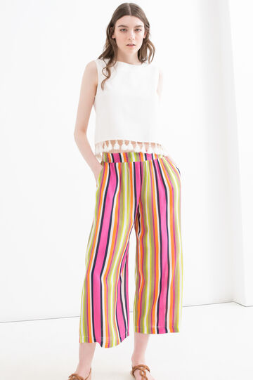 Striped trousers in 100% viscose, Multicolour, hi-res